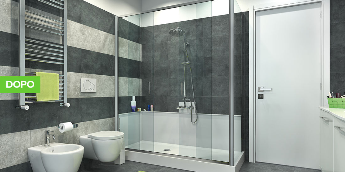 Idee per rifare il bagno ob22 pineglen for Trasformare vasca in doccia leroy merlin
