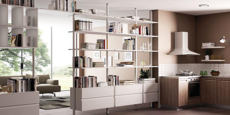 Separ cucina soggiorno cucine soggiorno open space with for Leroy merlin librerie metallo