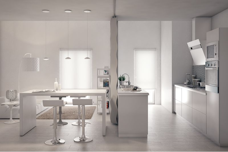 Sala E Cucina Insieme. Living Room Dining Room And Kitchen In New ...