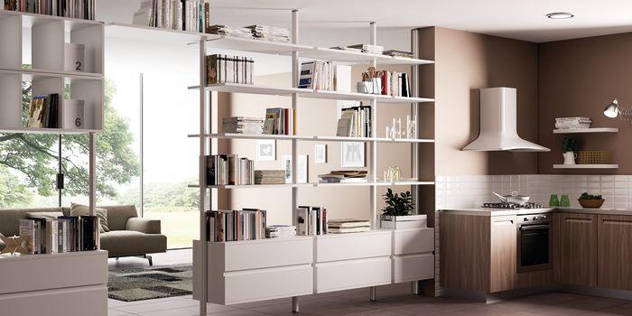 Come dividere cucina e soggiorno con una libreria componibile fai da ...