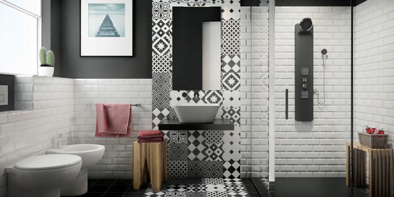 Bagno bianco e nero arredobagno sarah 150cm lavabo doppio - Sale da bagno fai da te ...