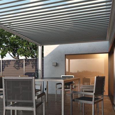 Pergola addossata Spell copertura bianca 3 x 3,92 m: prezzi e ...