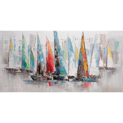 Decorazione Dipinto Su Tela Barche A Vela 60x120 36647954