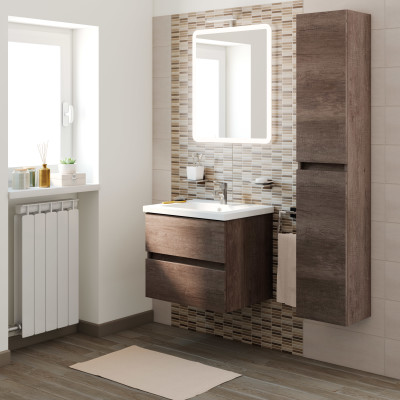 Mobile bagno kora rovere scuro l 61 cm prezzi e offerte online - Mobile bagno doppio lavabo leroy merlin ...