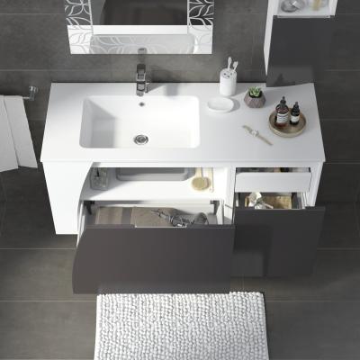 Mobile bagno Soft bianco con frontale grigio antracite L ...