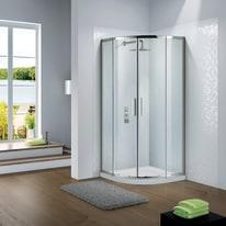 Box doccia scorrevole Slimline 85-90 x 85-90, H 195 cm cristallo 6 mm trasparente/silver