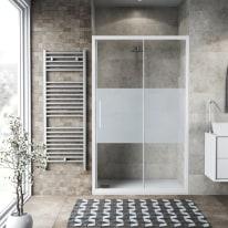 Porta doccia scorrevole Record 157-161, H 195 cm vetro temperato 6 mm serigrafato/bianco opaco