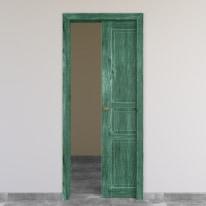 Porta da interno scorrevole Old Town verde sbiancato 80 x H 210 cm reversibile