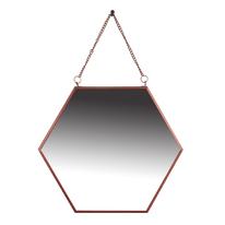 specchio da parete esagonale Hesagon rame 30 x 25 cm