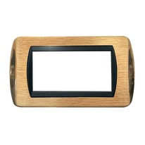 Placca 4 moduli CAL Living International ottone lucido + satinato