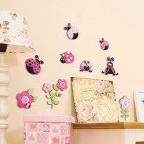 Sticker 3 Levels - M Pink ladybugs