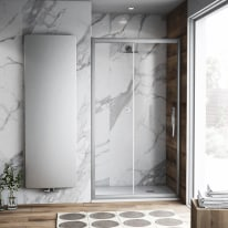 Porta doccia scorrevole Namara 115-120, H 195 cm cristallo 8 mm trasparente/silver