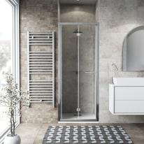 Porta doccia Record 77-81, H 195 cm vetro temperato 6 mm trasparente/silver lucido
