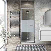 Porta doccia Record 72-76, H 195 cm vetro temperato 6 mm serigrafato/silver lucido