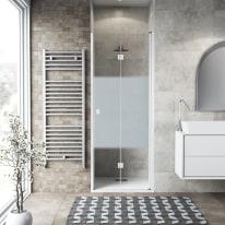 Porta doccia Neo 87-91, H 201,7 cm vetro temperato 6 mm serigrafato/bianco opaco