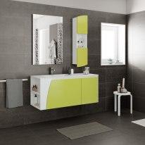 Mobile bagno Soft verde acido L 116,5 cm