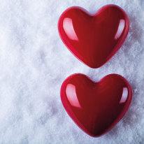 Quadro in vetro Red hearts 28x28