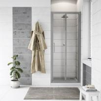 Porta doccia Quad 77.5-80,5, H 190 cm cristallo 6 mm trasparente/silver