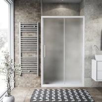 Porta doccia scorrevole Record 137-141, H 195 cm vetro temperato 6 mm satinato/bianco opaco