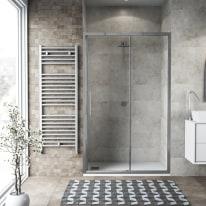 Porta doccia scorrevole Record 122-126, H 195 cm vetro temperato 6 mm trasparente/silver lucido