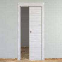 Porta da interno scorrevole Pigalle palissandro bianco 90 x H 210 cm reversibile