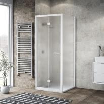Doccia con porta pieghevole e lato fisso Record 72 - 76 x 77 - 79 cm, H 195 cm vetro temperato 6 mm satinato/bianco opaco