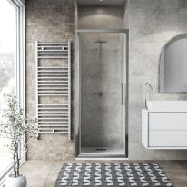 Porta doccia battente Record 92-96, H 195 cm vetro temperato 6 mm trasparente/silver lucido