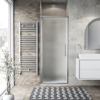 Porta doccia battente Record 77-81, H 195 cm vetro temperato 6 mm satinato/silver lucido