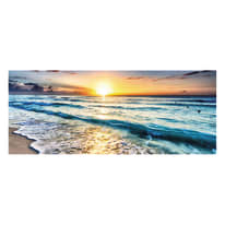 Quadro in vetro Waves in the sunset 125x50