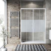Porta doccia scorrevole Record 177-181, H 195 cm vetro temperato 6 mm serigrafato/bianco opaco