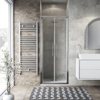 Porta doccia battente Record 82-86, H 195 cm vetro temperato 6 mm trasparente/silver lucido