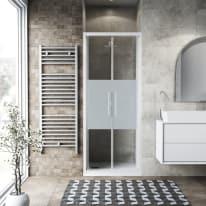 Porta doccia battente Record 67-71, H 195 cm vetro temperato 6 mm serigrafato/bianco opaco
