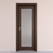Porta da interno battente Timber vetro Fumo 60 x H 210 cm reversibile