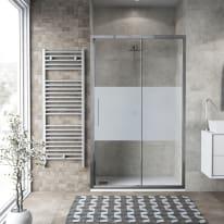 Porta doccia scorrevole Record 122-126, H 195 cm vetro temperato 6 mm serigrafato/silver lucido