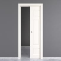 Porta da interno scorrevole Coconut Groove bianco 80 x H 210 cm reversibile