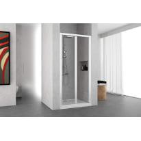 Porta doccia Oceania 72-78, H 195 cm vetro temperato 4 mm trasparente/bianco lucido