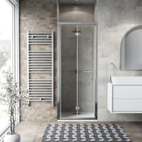 Porta doccia Record 67-71, H 195 cm vetro temperato 6 mm trasparente/silver lucido