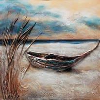 quadro dipinto a mano Barca 80x80