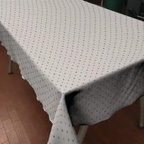 Tovaglia cotone resinato Pois tortora 180 x 140 cm