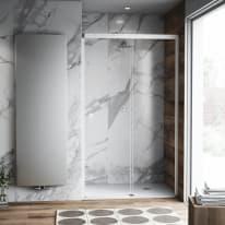Porta doccia scorrevole Neo Plus 157-159, H 200 cm vetro temperato 6 mm trasparente/bianco opaco