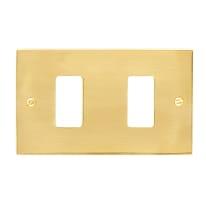 Placca 2 moduli CAL Magic ottone lucido