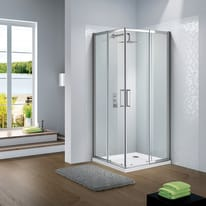 Box doccia scorrevole Slimline 94-100 x 94-100, H 195 cm cristallo 6 mm trasparente/silver