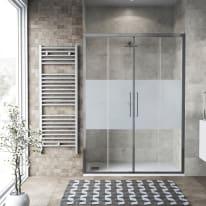 Porta doccia scorrevole Record 167-171, H 195 cm vetro temperato 6 mm serigrafato/silver lucido