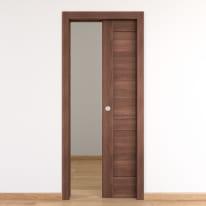 Porta per bed & breakfast scorrevole Coventry noce 80 x H 210 cm reversibile