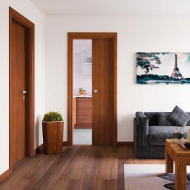 Porta da interno battente Mudek Noce nazionale 80 x H 210 cm reversibile