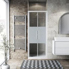 Porta doccia battente Record 72-76, H 195 cm vetro temperato 6 mm serigrafato/bianco opaco