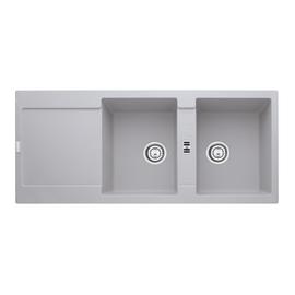 Lavello incasso Maris alluminio L 116 x P  50 cm 2 vasche + gocciolatoio