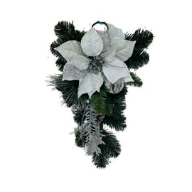 Fuoriporta Stella di Natale argento, H 50 cm