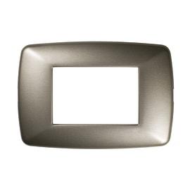 Placca 3 moduli FEB Flexì Brio acciaio aatinato