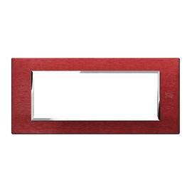 Placca 6 moduli Simon Urmet Nea Expì alluminio rosso